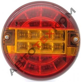 Фонарь задний круглый M720104 (24В) LED гамбургер (желтая полоса) ан.0021/T-045