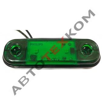 Фонарь габаритный ОГ-40 (12/24В) зелёный LED 3 диода (ан.77-03 )