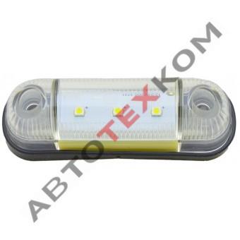 Фонарь габаритный 78-01 (12/24В) белый LED 3 диода (ан.005.3731-05)