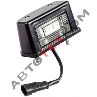 Фонарь освещения номерного знака ЕС-12 (12/24В) LED черный (с овал. AMP разъёмом)